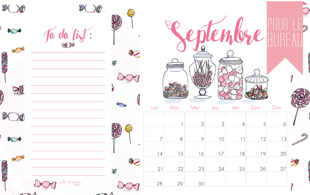 Calendrier Mois De Septembre.Calendrier De Septembre Milk With Mint