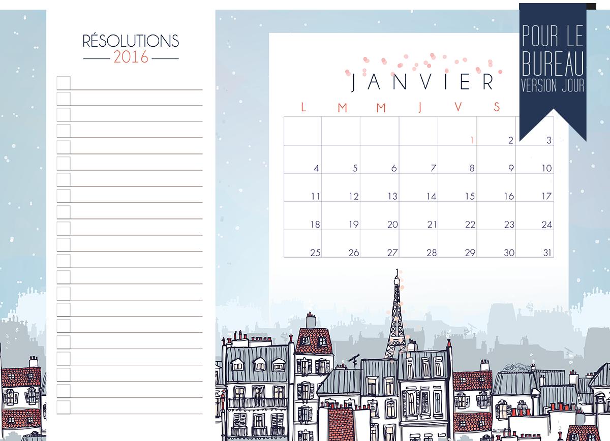 Calendriers mensuels : janvier 2016 (gratuit - à imprimer) - C'est ...
