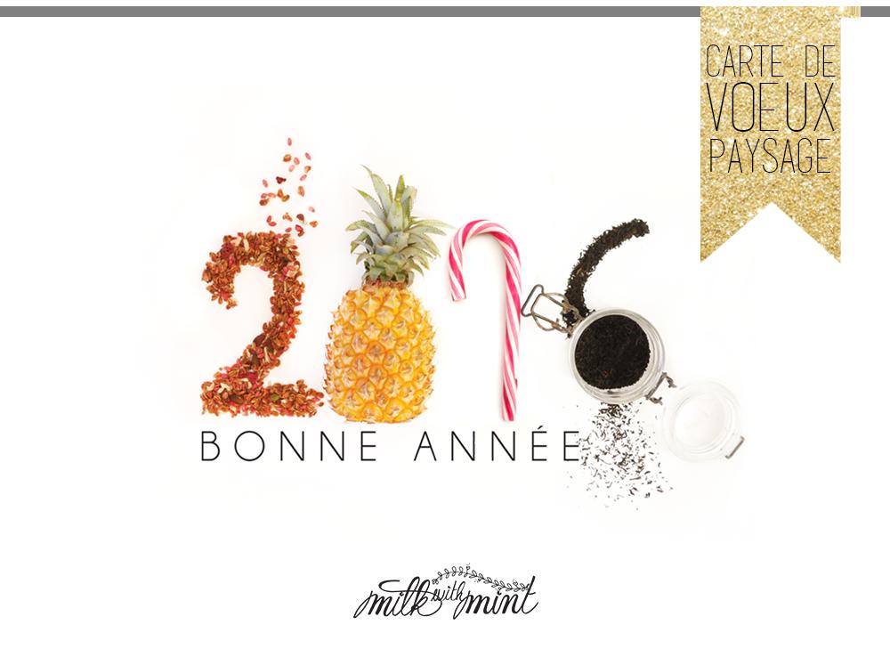 bonne ann e 2016 carte de voeux imprimer milk with mint. Black Bedroom Furniture Sets. Home Design Ideas