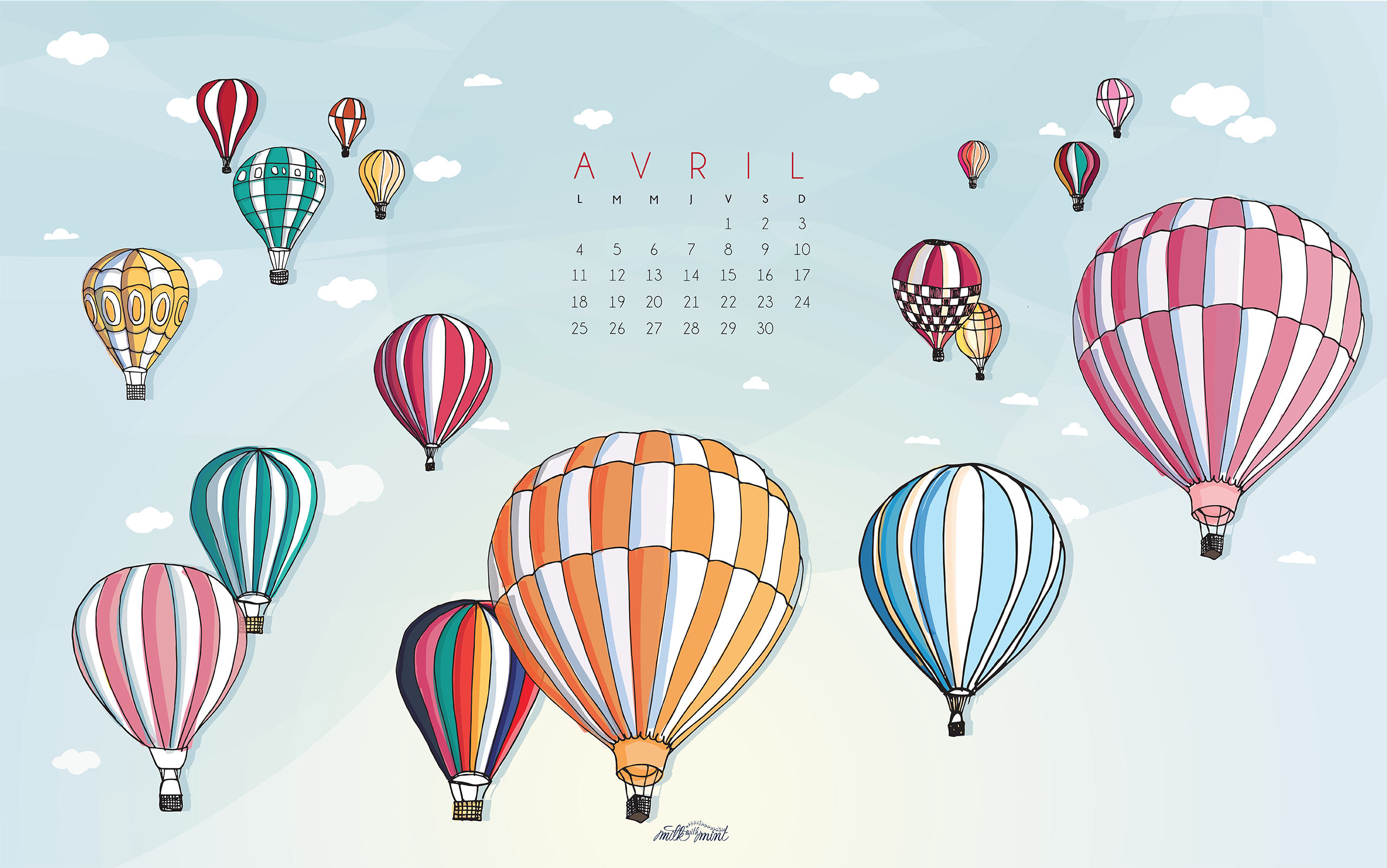 Calendrier d 39 avril milk with mint for Image fond ecran ordinateur