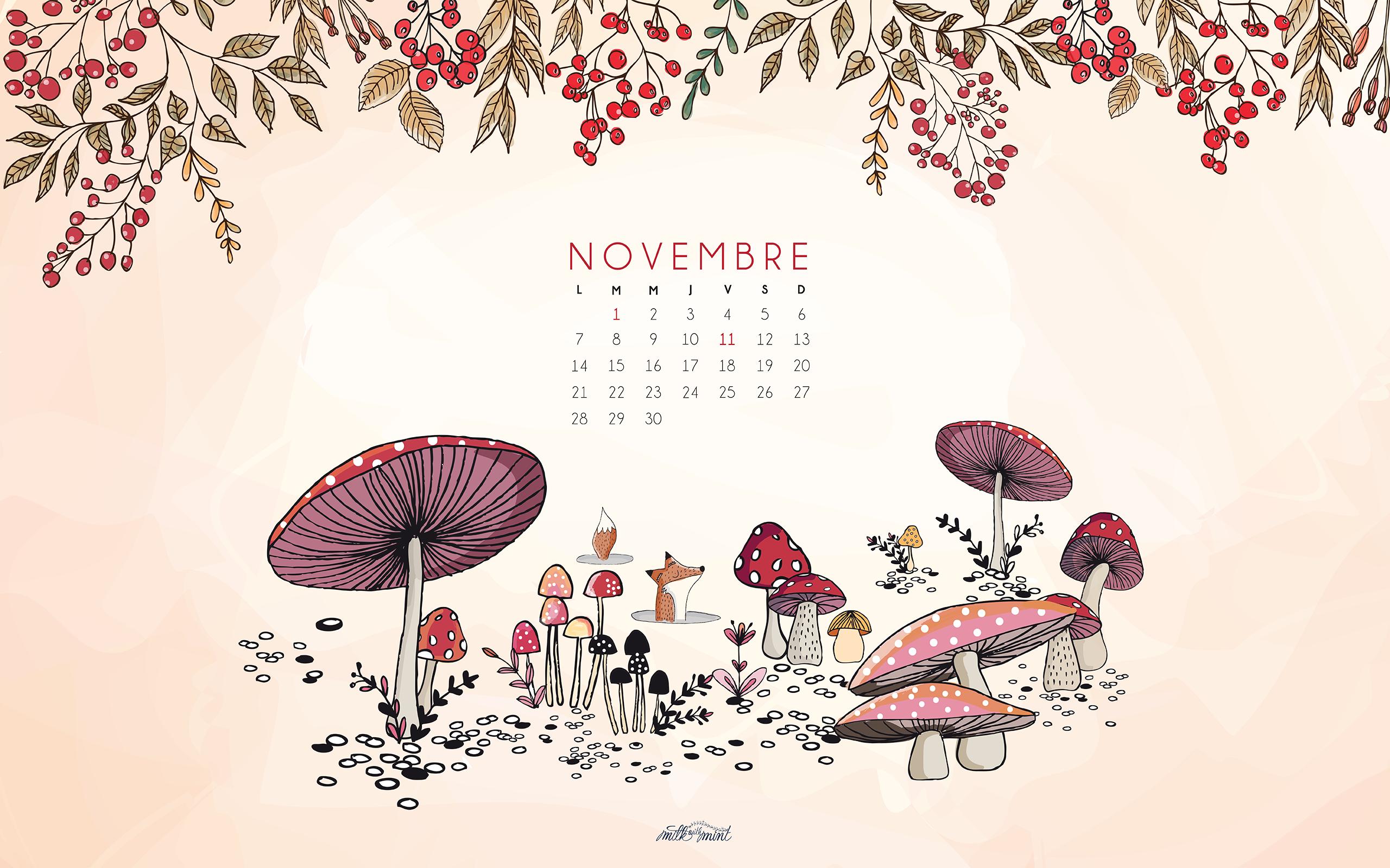 Calendrier de novembre milk with mint for Fond ecran novembre