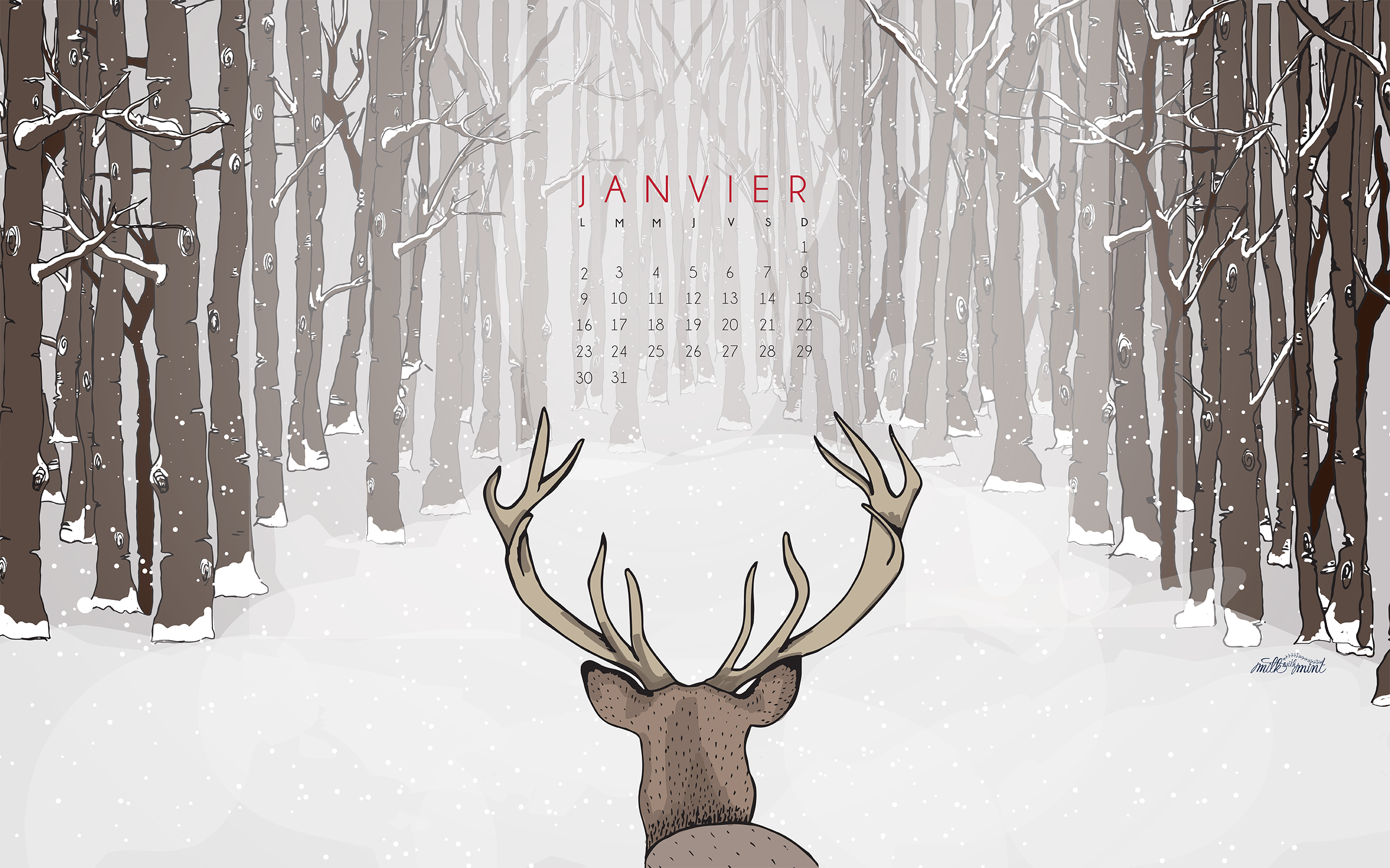 Calendrier de janvier milk with mint for Fond ecran janvier