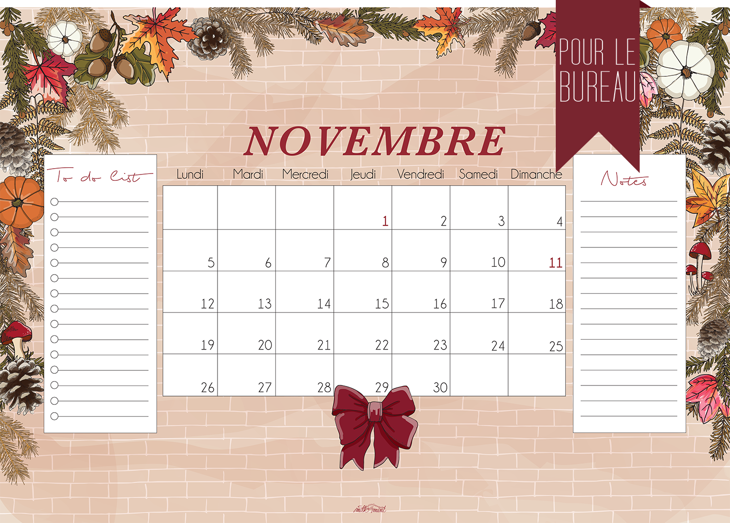 Calendrier De Novembre Milk With Mint