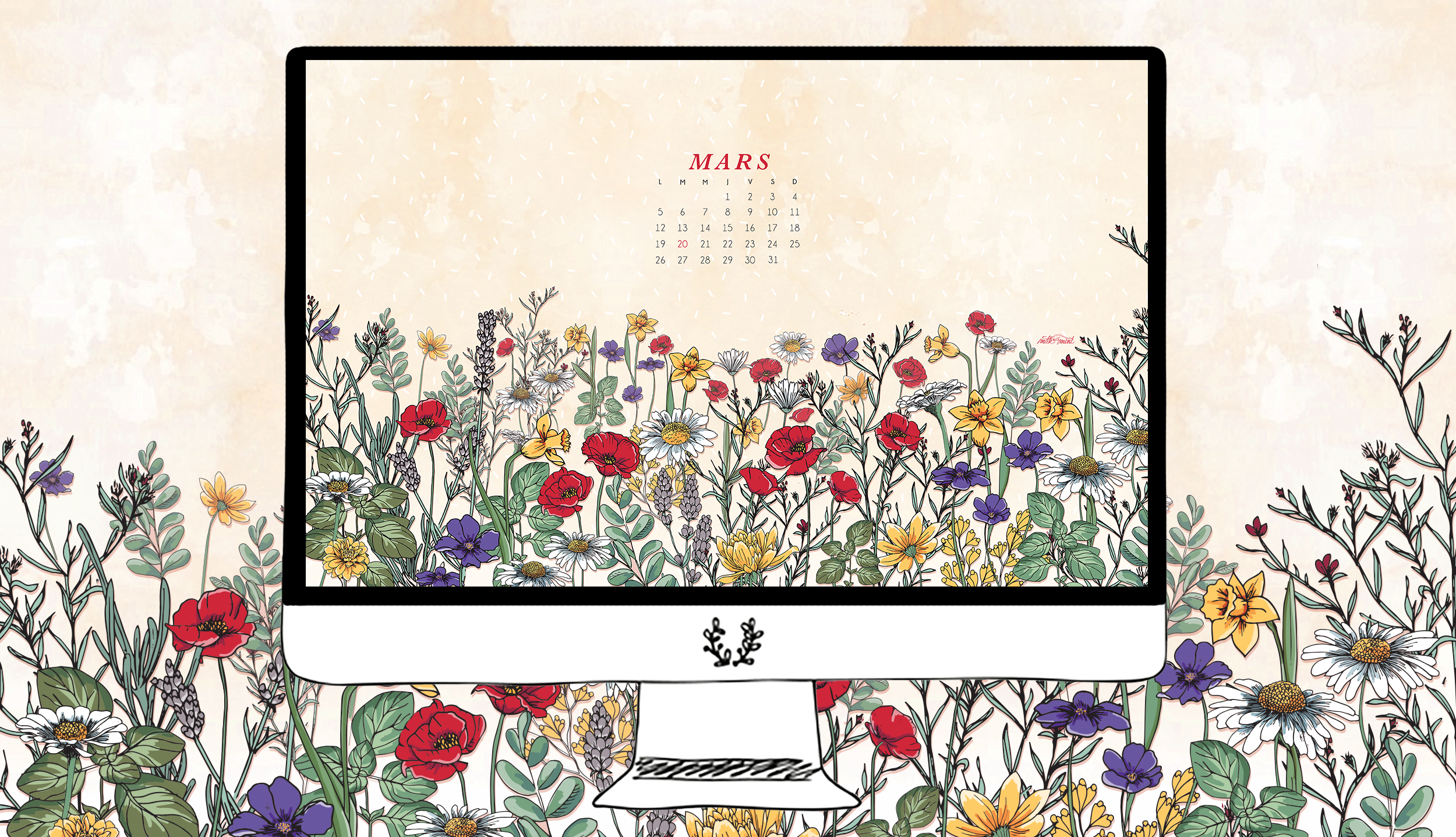 Calendrier mars milk with mint for Ecran photo 2018